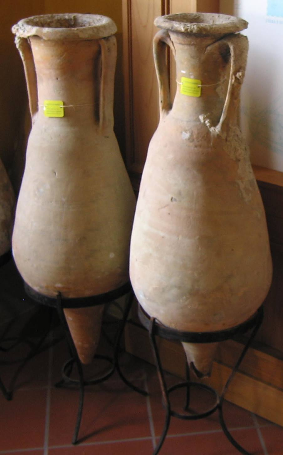 Amphorae in the archeological museum of Marciana Alta